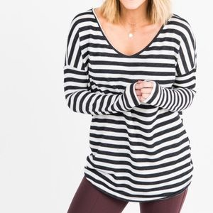 Urban Pullover Double V-Neck Ivory/Black Stripe